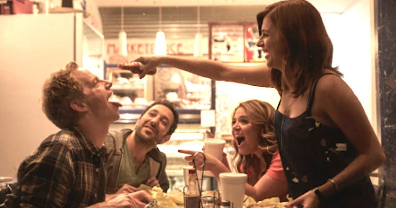 YOU'RE THE WORST -- Pictured: (l-r) Chris Geere as Jimmy, Desmin Borges as Edgar, Kether Donohue as Lindsay, Aya Cash as Gretchen. CR: Autumn de Wilde/FX