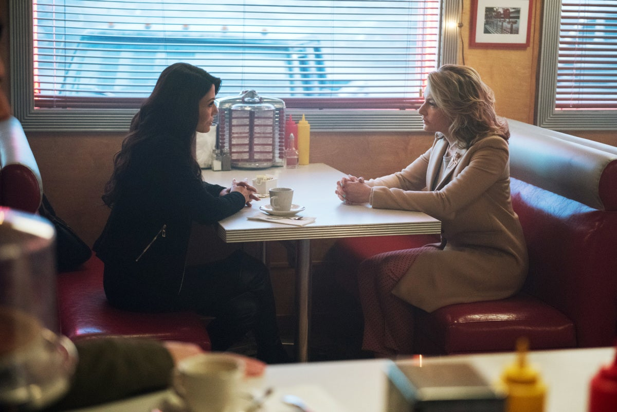 """Riverdale -- """"The Outsiders"""" -- Image Number: RVD108b_0028.jpg -- Pictured (L-R): Marisol Nichols as Hermione Lodge and Madchen Amick as Alice Cooper -- Photo: Dean Buscher/The CW -- © 2017 The CW Network. All Rights Reserved"""